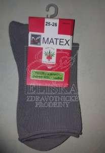 Hladké ponožky Matex Diabetes - Světle šedé